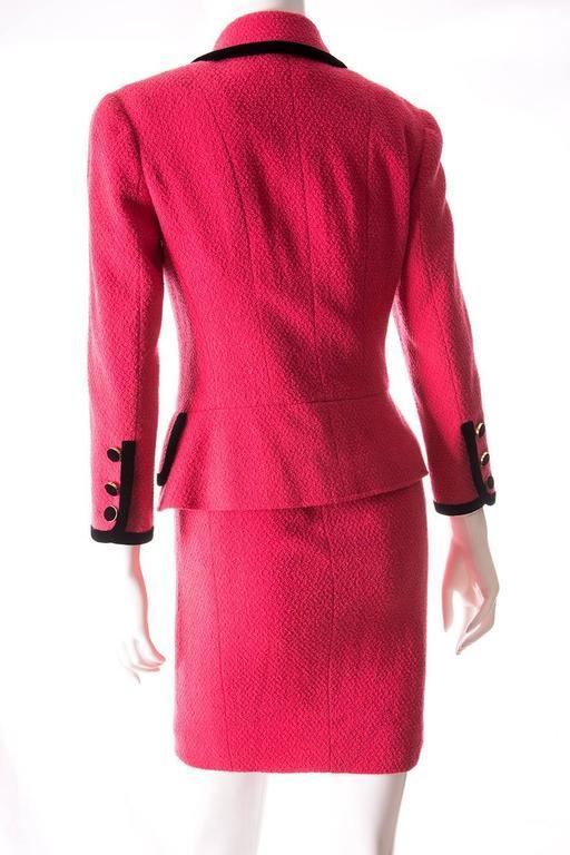 Chanel 1996 Velvet Trim Skirt Suit 4