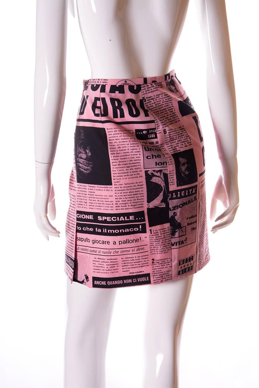 Moschino Couture 1983 Newspaper Print Skirt at 1stdibs