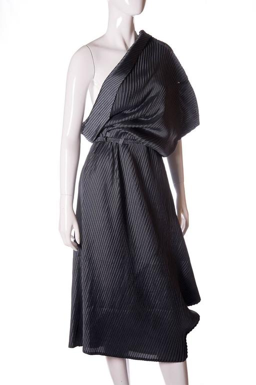 Issey Miyake Pleated One Shouldered Dress 3