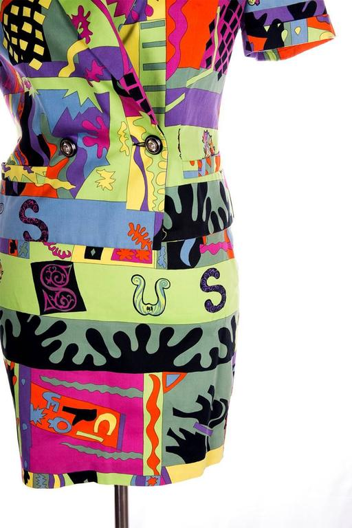 Versus Gianni Versace Neon Fluoro Print Skirt Suit 2