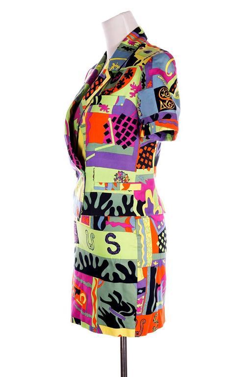 Versus Gianni Versace Neon Fluoro Print Skirt Suit 3