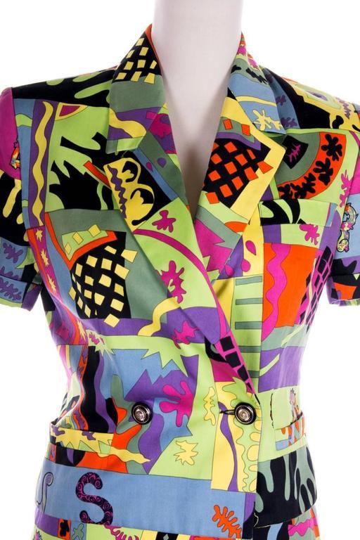Versus Gianni Versace Neon Fluoro Print Skirt Suit 4