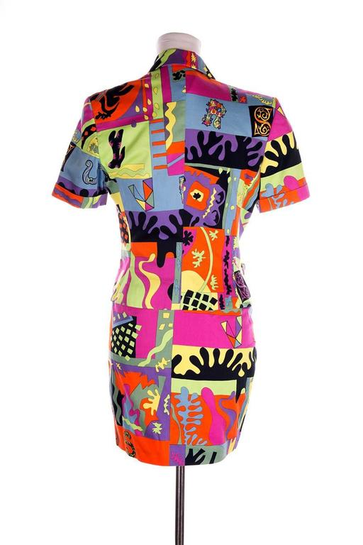 Versus Gianni Versace Neon Fluoro Print Skirt Suit 5