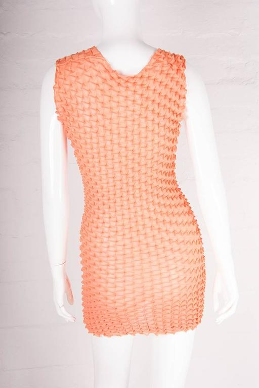 Issey Miyake Pleats Please Textured Pleated Orange Mini Dress 4