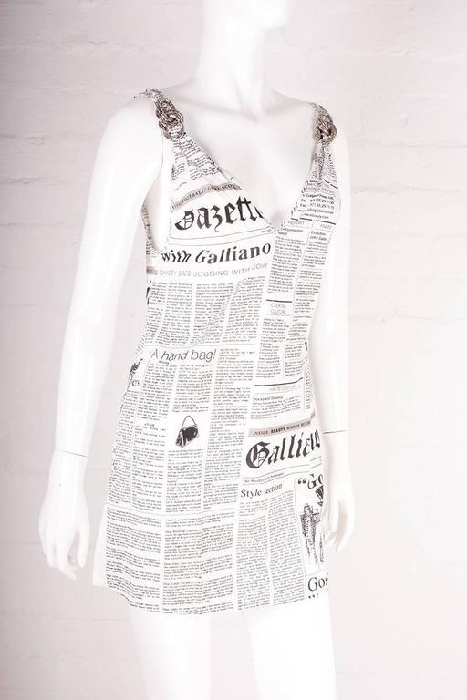 John Galliano Iconic Newspaper Print Dress 2