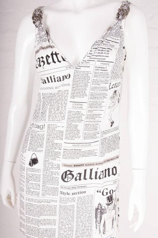 John Galliano Iconic Newspaper Print Dress 4