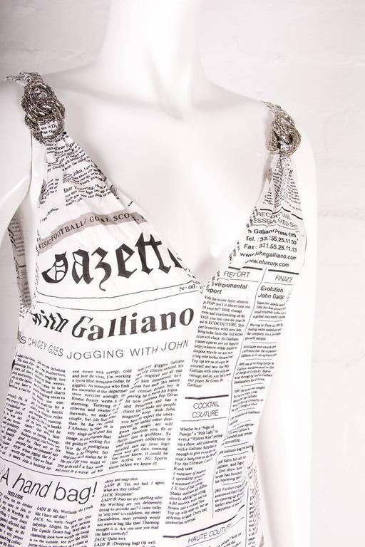 John Galliano Iconic Newspaper Print Dress 5