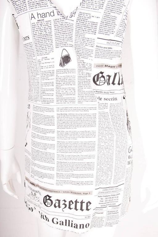 John Galliano Iconic Newspaper Print Dress 6
