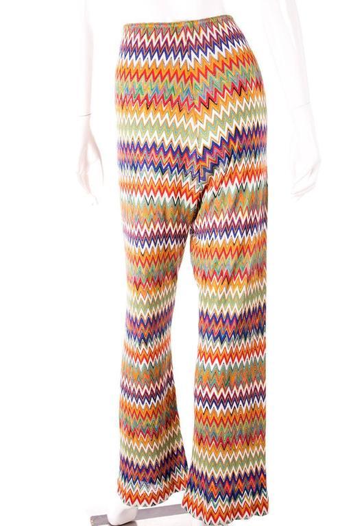 Missoni Zig Zag Flame Stitch 70s Knit Pants 2