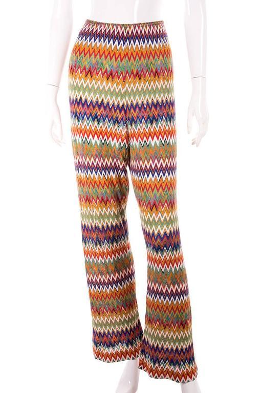Missoni Zig Zag Flame Stitch 70s Knit Pants 3