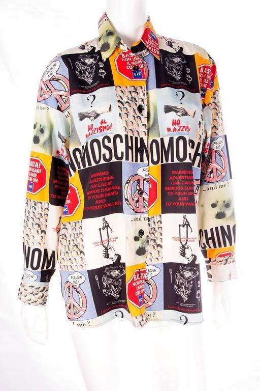 Moschino 1990s Slogan Printed Shirt 3