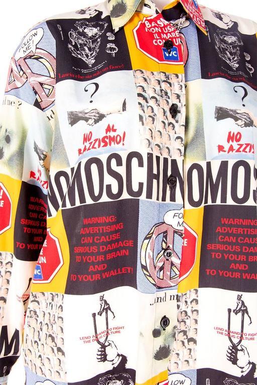 Moschino 1990s Slogan Printed Shirt 4