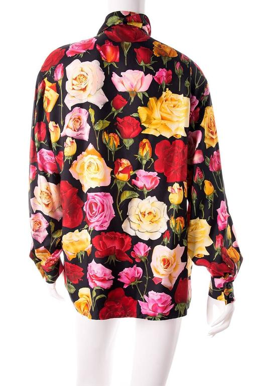 Gucci Rose Print Floral Silk Shirt 2