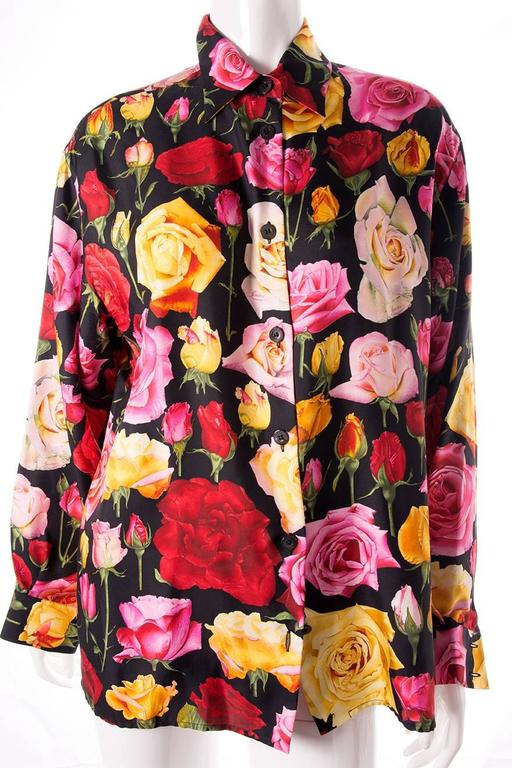 Gucci Rose Print Floral Silk Shirt 3