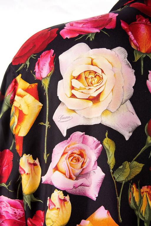 Gucci Rose Print Floral Silk Shirt 5
