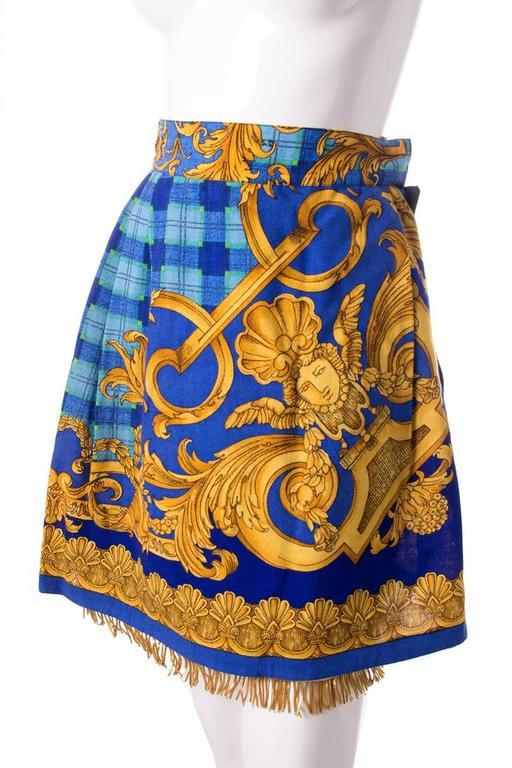 Gianni Versace Baroque Print Gold Fringe Skirt 2
