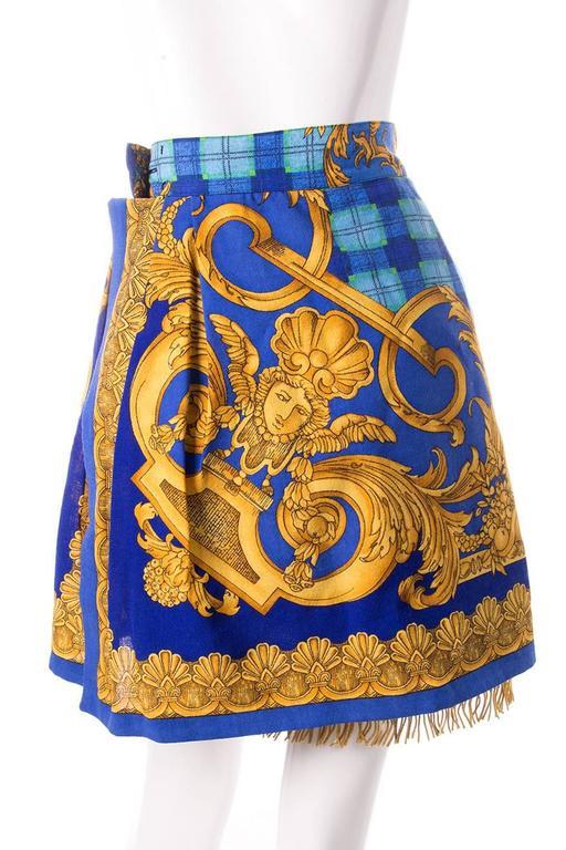Gianni Versace Baroque Print Gold Fringe Skirt 3