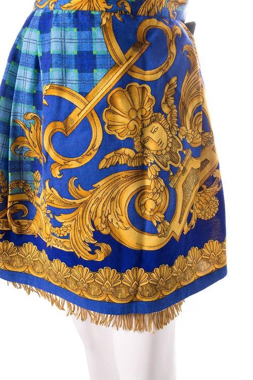 Gianni Versace Baroque Print Gold Fringe Skirt 4