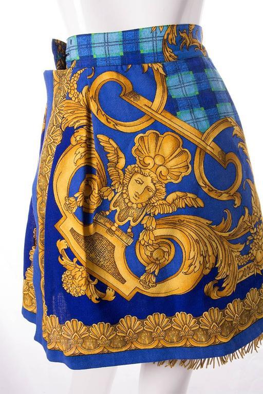 Gianni Versace Baroque Print Gold Fringe Skirt 5