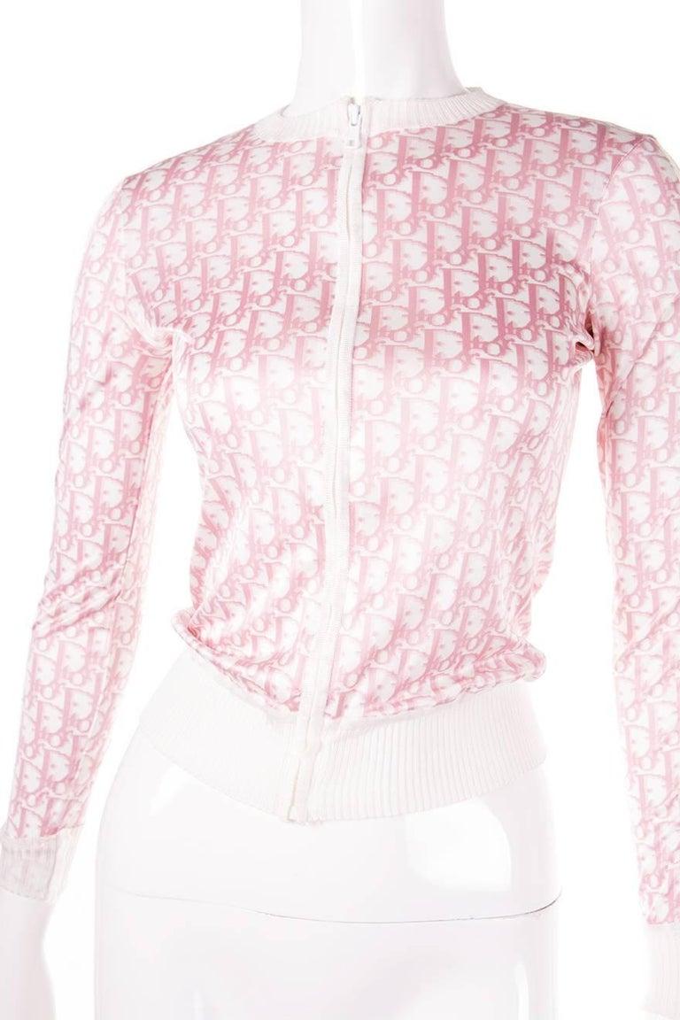 Christian Dior Pink Monogram Zip Up Top 4