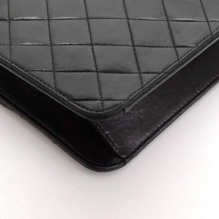 """Chanel 10"""" Classic Black Quilted Leather Shoulder Flap Bag Ex 8"""