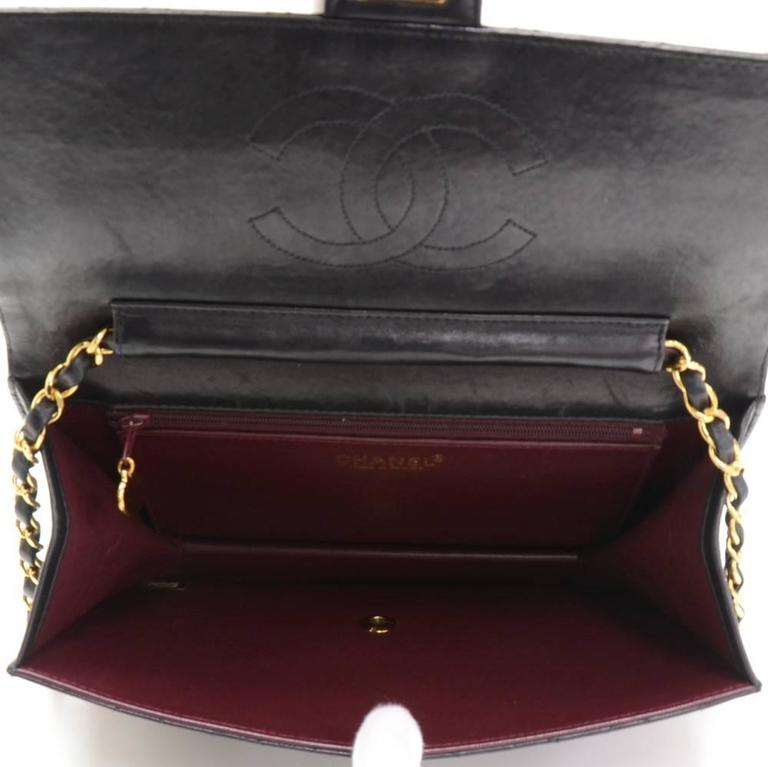"""Chanel 10"""" Classic Black Quilted Leather Shoulder Flap Bag Ex 10"""