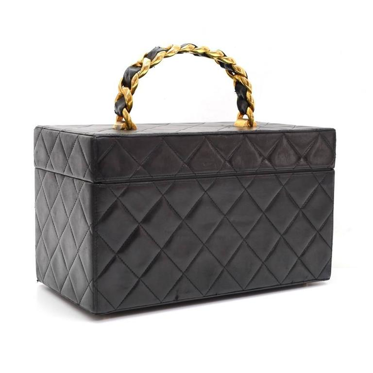 Vintage Chanel Vanity Black Quilted Leather Large Cosmetic Hand Bag 2