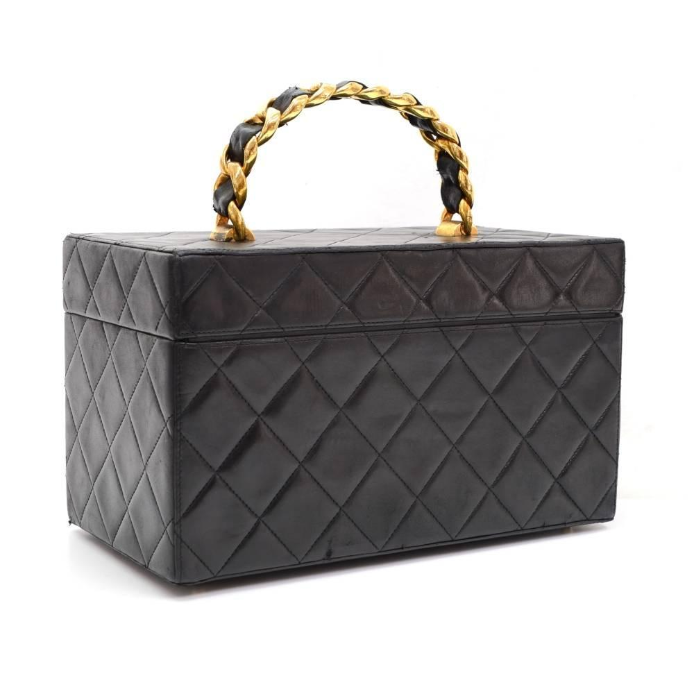 Vintage Chanel Vanity Black Quilted Leather Large Cosmetic