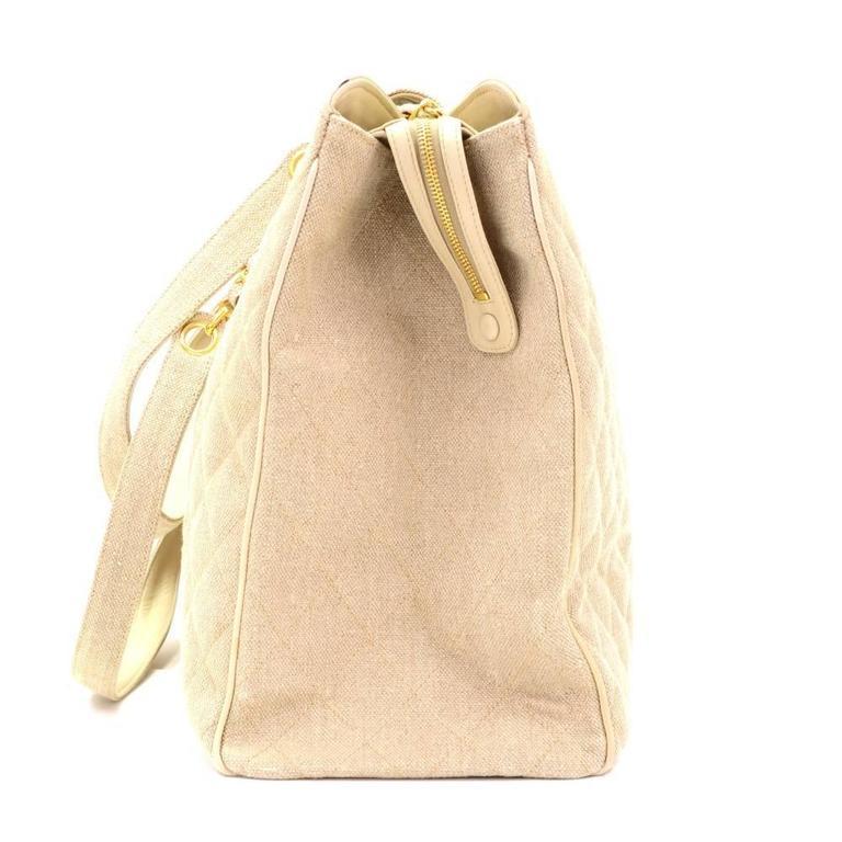 Women's Chanel Overnighter Supermodel Beige Quilted Canvas Shoulder Tote Bag For Sale