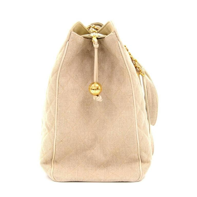 Chanel Overnighter Supermodel Beige Quilted Canvas Shoulder Tote Bag For Sale 1