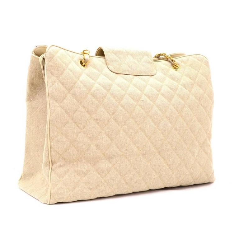 Chanel Overnighter Supermodel Beige Quilted Canvas Shoulder Tote Bag In Excellent Condition For Sale In Fukuoka, Kyushu