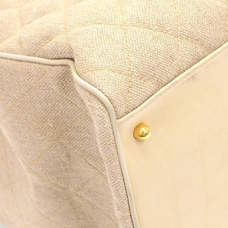 Chanel Overnighter Supermodel Beige Quilted Canvas Shoulder Tote Bag For Sale 3