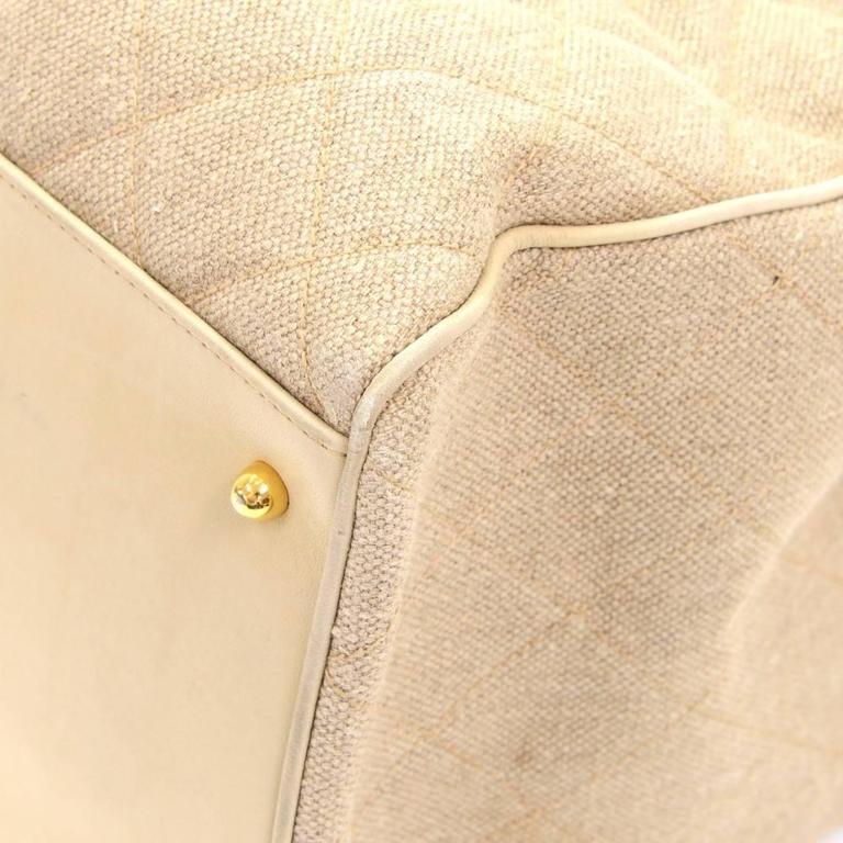Chanel Overnighter Supermodel Beige Quilted Canvas Shoulder Tote Bag For Sale 4