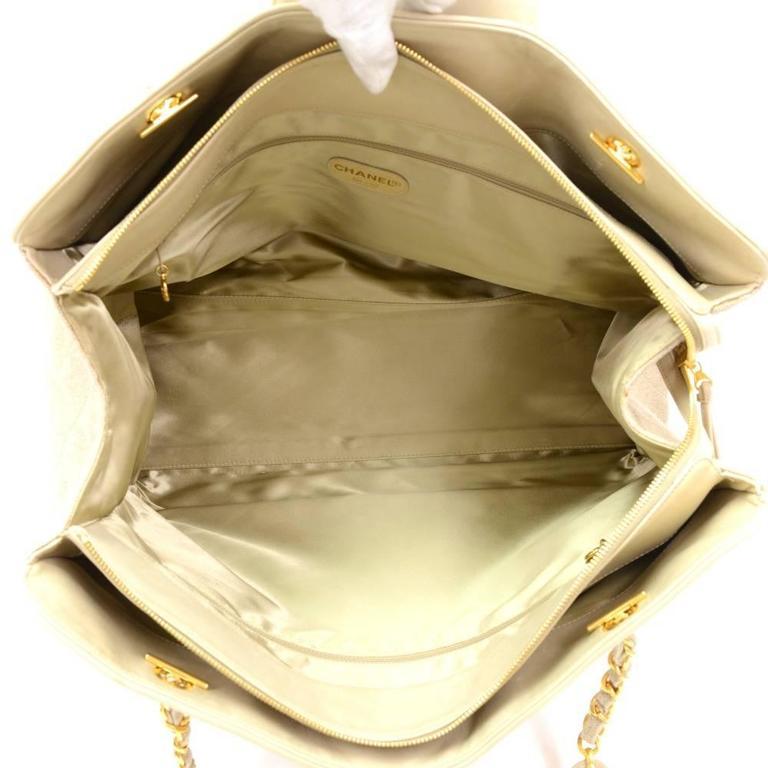 Chanel Overnighter Supermodel Beige Quilted Canvas Shoulder Tote Bag For Sale 6