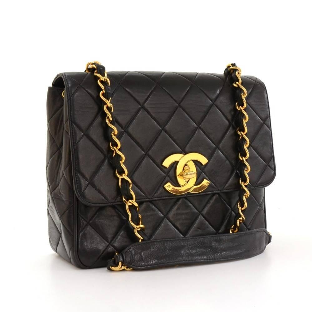 "2a1a28b80b9e77 Chanel Bag Large Logo. Chanel 10"" Black Quilted Leather Shoulder Flap Bag  Large CC Logo For Sale at 1stdibs"
