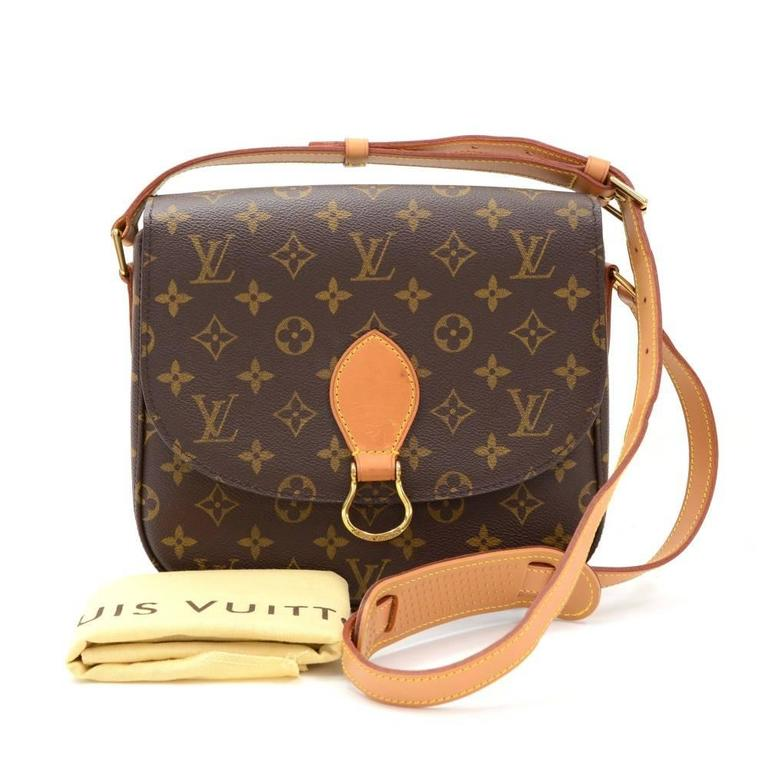 Louis Vuitton Saint-Cloud shoulder bag. Flap top is secured with stud closure. 1 open pocket on the back. Inside has 1 zipper pocket. Comfortably carry on shoulder or across the body. Very stylish and classic item from 80s.  Made in: