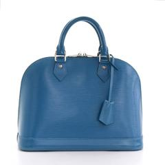 Louis Vuitton Alma NM Blue Cyan Epi Leather Silver Hardware Hand Bag