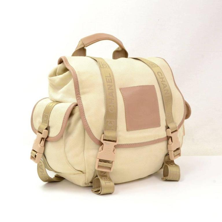Chanel Sports Line Beige Canvas Backpack Bag 2