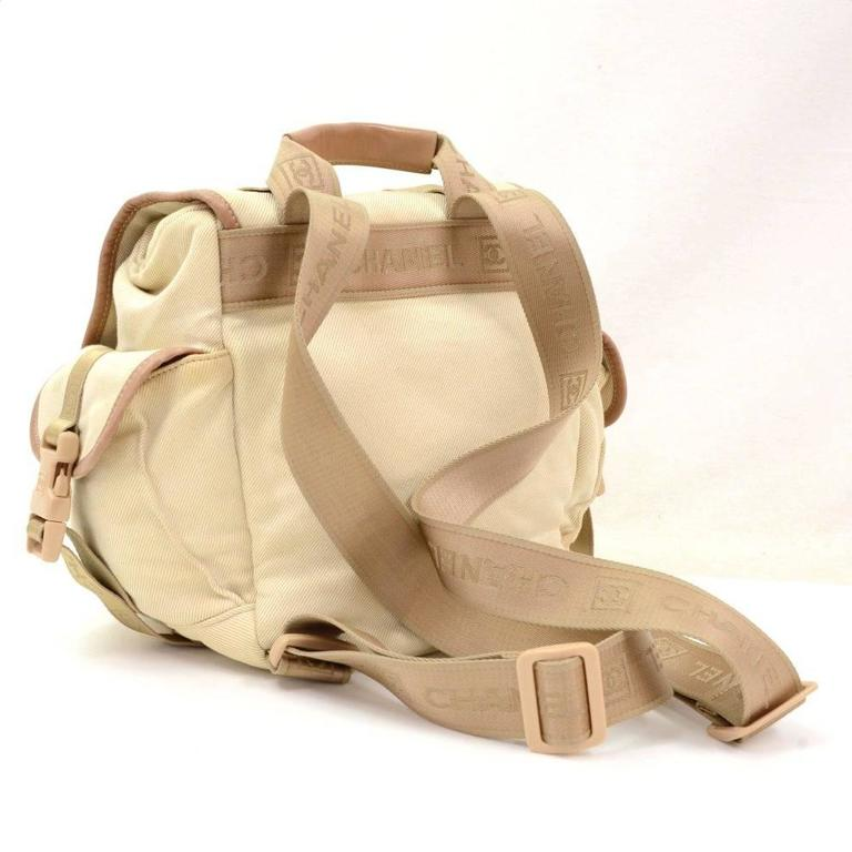 Chanel Sports Line Beige Canvas Backpack Bag 3