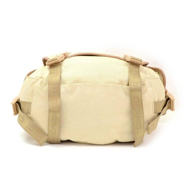 Chanel Sports Line Beige Canvas Backpack Bag 6