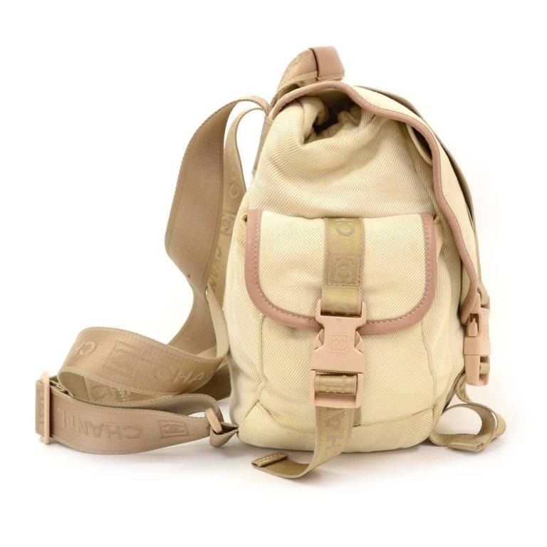 Chanel Sports Line Beige Canvas Backpack Bag 4