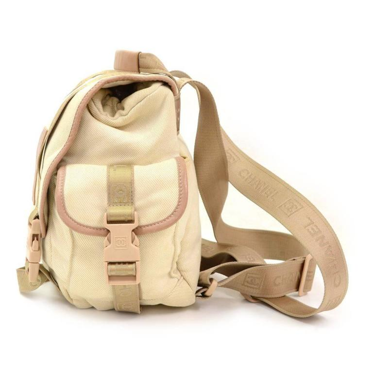 Chanel Sports Line Beige Canvas Backpack Bag 5