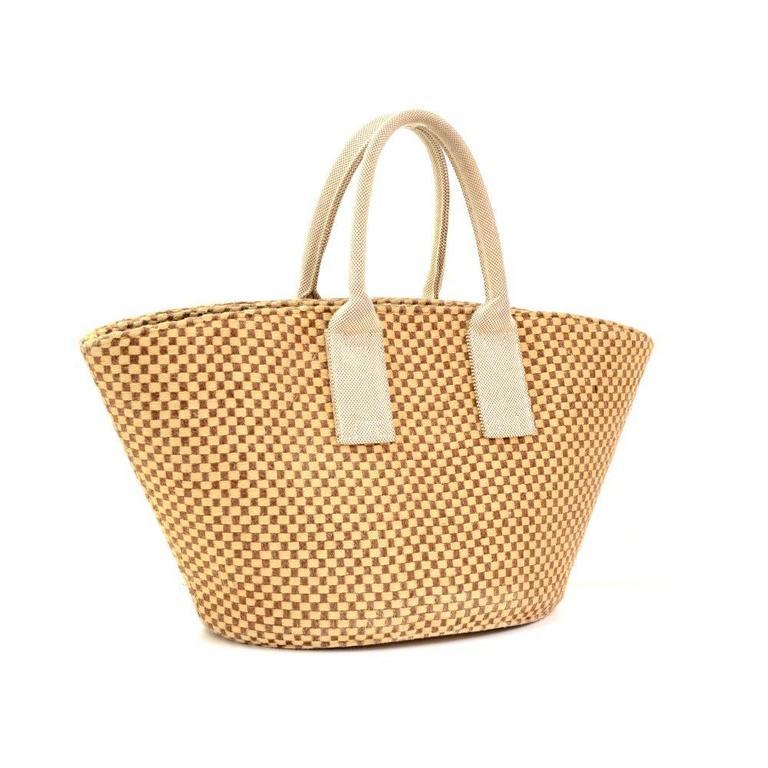 Hermes Beige x Brown Straw Beach Party Tote Bag 3