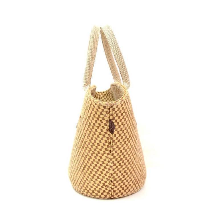 Hermes Beige x Brown Straw Beach Party Tote Bag 5