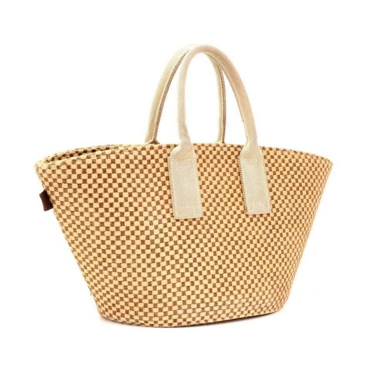 Hermes Beige x Brown Straw Beach Party Tote Bag 2