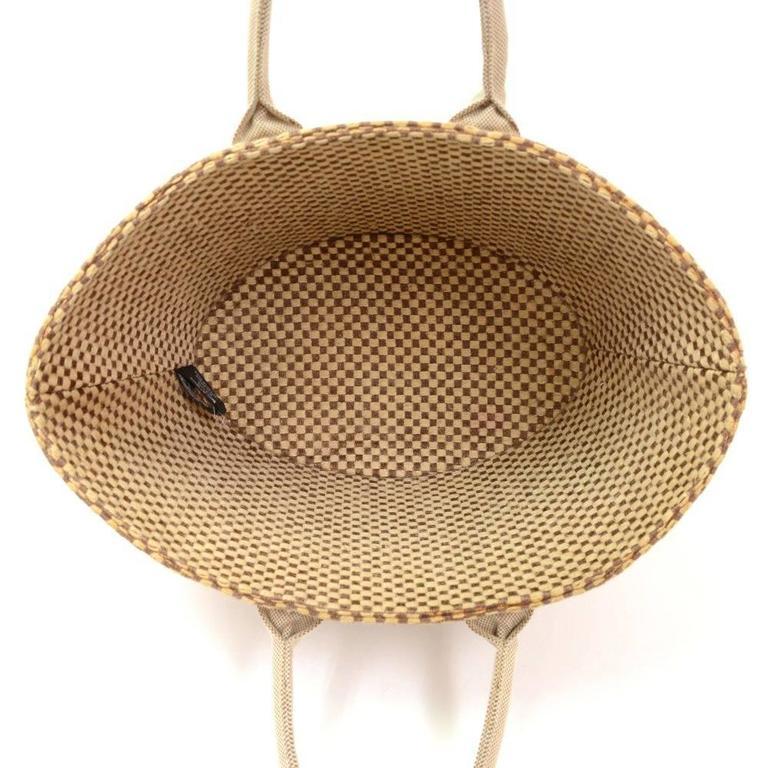 Hermes Beige x Brown Straw Beach Party Tote Bag 10