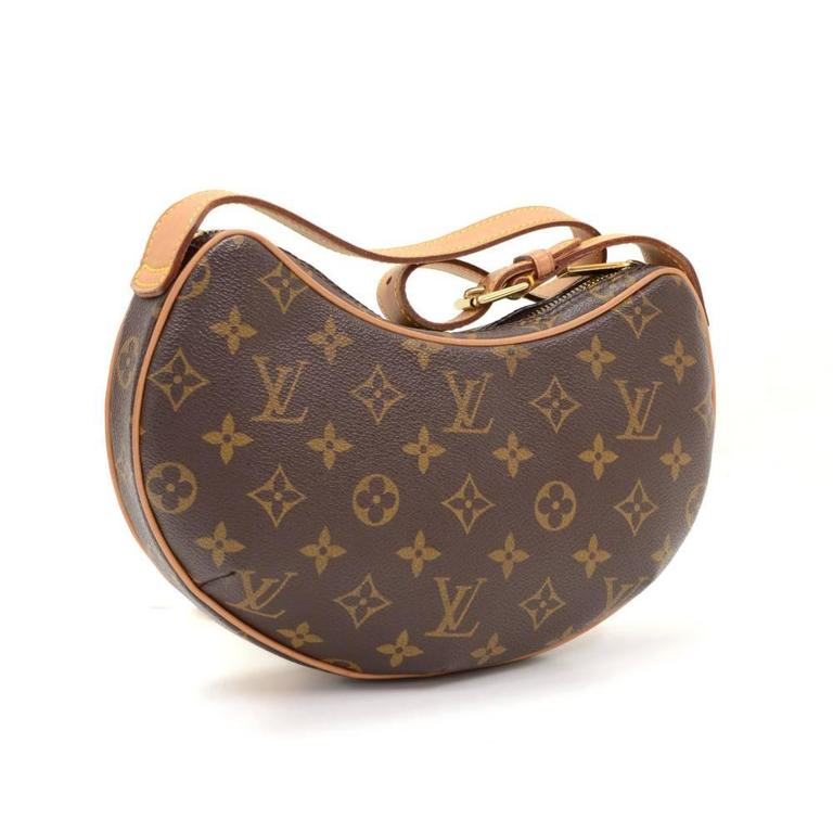Brown Louis Vuitton Pochette Croissant Monogram Canvas Shoulder Handbag For Sale