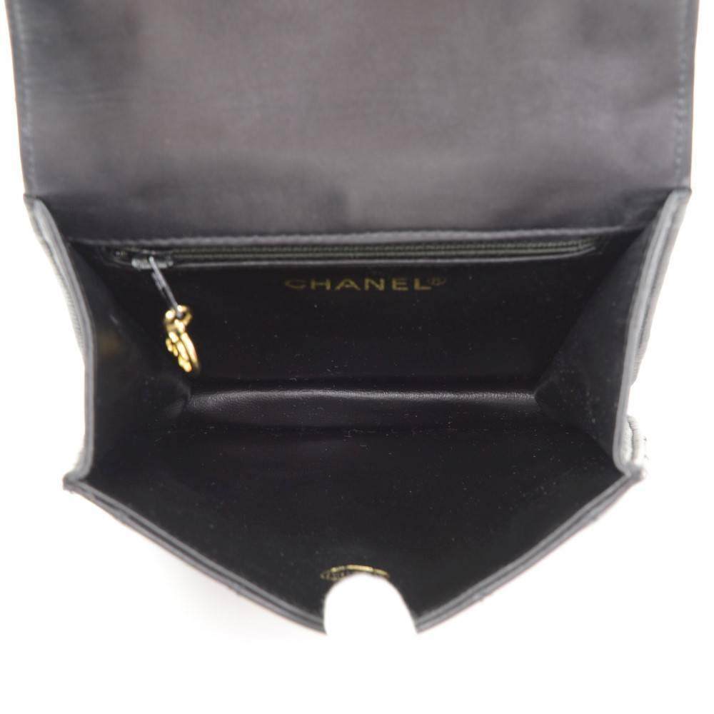 Vintage Chanel Black Quilted Leather Waist Pouch Bag + Belt Size ...