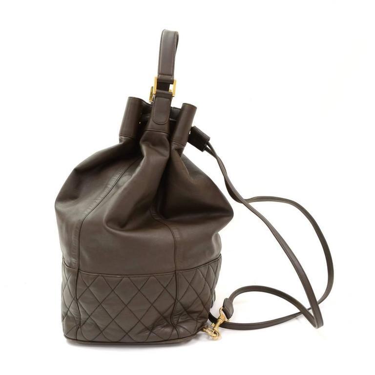 Black Vintage Chanel Dark Brown Leather Large Bucket Backpack For Sale