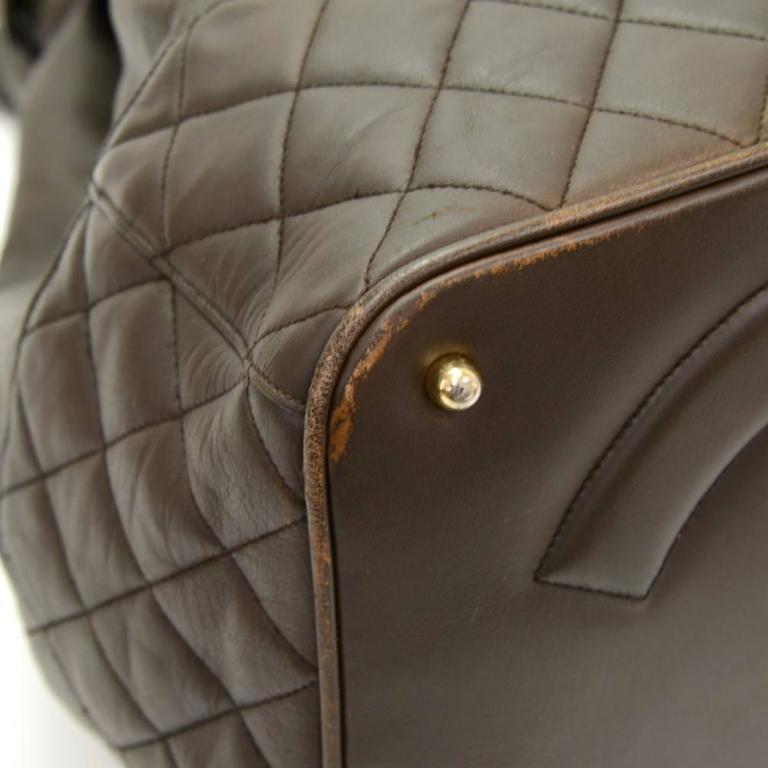 Vintage Chanel Dark Brown Leather Large Bucket Backpack For Sale 1